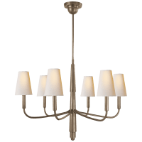 Farlane Small Chandelier in Antique Nickel with Natural Paper Shades