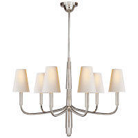 Farlane Small Chandelier in Polished Silver with Natural Paper Shades