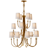 Reed Extra Large Chandelier in Hand-Rubbed Antique Brass with Natural Paper Shades