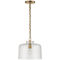 Katie Dome Pendant in Hand-Rubbed Antique Brass with Clear Glass
