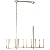 Galahad Large Linear Chandelier in Polished Nickel