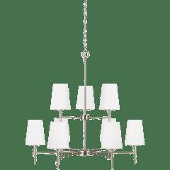 Driscoll Nine Light Chandelier Brushed Nickel Bulbs Inc