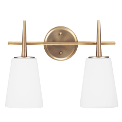 Driscoll Two Light Wall / Bath Satin Brass Bulbs Inc