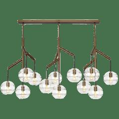 Sedona Triple Chandelier Triple Clear Aged Brass No Lamp