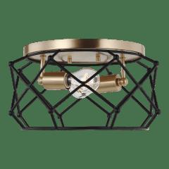 Zarra Two Light Flush Mount Satin Brass