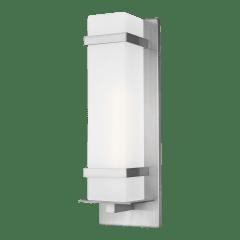 Alban Large One Light Outdoor Square Wall Lantern Satin Aluminum