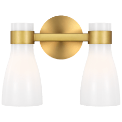 Moritz Two Light Vanity Burnished Brass with Milk White Glass