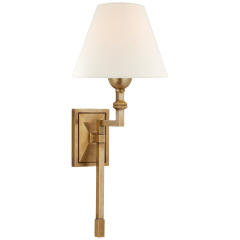 Jane Medium Single Tail Sconce in Hand-Rubbed Antique Brass with Linen Shade