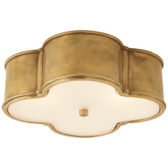"""Basil 17"""" Flush Mount in Natural Brass with Frosted Glass"""