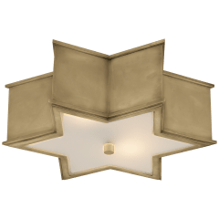 """Sophia 17"""" Flush Mount in Natural Brass with Frosted Glass"""