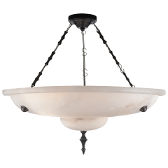 Charles Small Chandelier in Alabaster and Bronze