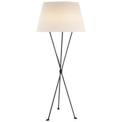 Lebon Floor Lamp in Aged Iron with Linen Shade