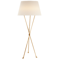 Lebon Floor Lamp in Gild with Linen Shade