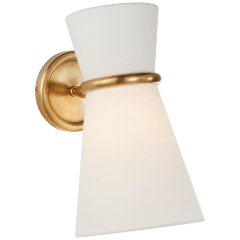 Clarkson Small Single Pivoting Sconce in Hand-Rubbed Antique Brass with Linen Shade