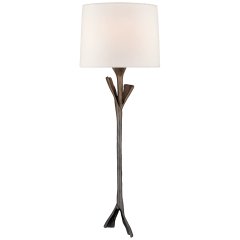 Fliana Tail Sconce in Aged Iron with Linen Shade
