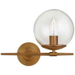 Turenne Small Sconce in Hand-Rubbed Antique Brass with Clear Glass