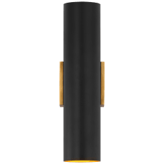Nella Medium Cylinder Sconce in Hand-Rubbed Antique Brass and Matte Black