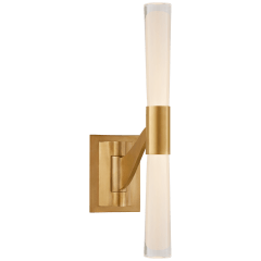 Brenta Single Articulating Sconce in Hand-Rubbed Antique Brass with Clear Glass