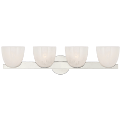Carola 4-Light Bath Sconce in Polished Nickel with White Strie Glass