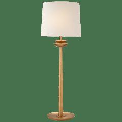 Beaumont Medium Buffet Lamp in Gild with Linen Shade