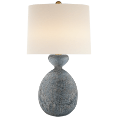 Gannet Table Lamp in Blue Lagoon with Linen Shade
