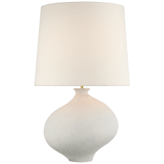 Celia Large Right Table Lamp in Marion White with Linen Shade