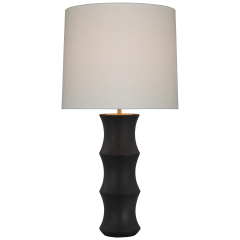 Marella Large Table Lamp in Stained Black Metallic with Linen Shade