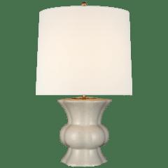 Lavinia Medium Table Lamp in Bone Craquelure with Linen Shade