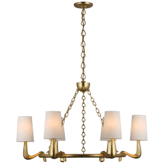 Gaya Medium Chandelier in Gild with Linen Shades