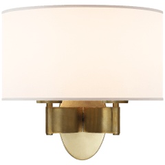 Graceful Ribbon Double Sconce in Soft Brass with Silk Shade
