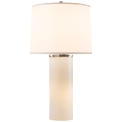 Moon Glow Table Lamp in White Glass with Silk Shade