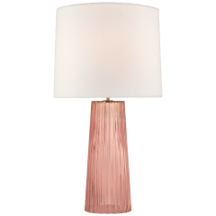 Danube Medium Table Lamp in Rosewater with Linen Shade