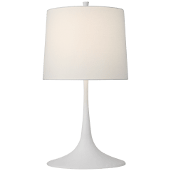 Oscar Medium Sculpted Table Lamp in Plaster White with Linen Shade