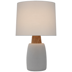 Aida Large Table Lamp in Porous White and Natural Oak with Linen Shade
