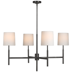 Clarion Large Chandelier in Bronze with Linen Shades