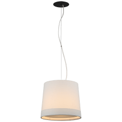 Sash Small Hanging Shade in Bronze with Linen Shade Banded