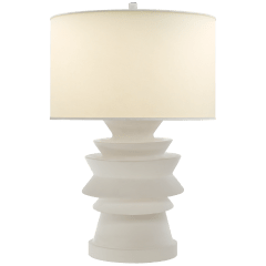 Stacked Disk Table Lamp in White with Natural Percale Shade