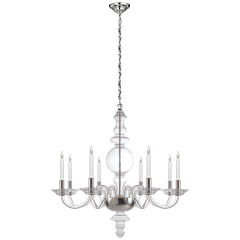 King George Grande Round Chandelier in Crystal with Polished Nickel