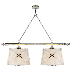 Grosvenor Linear Double Pendant in Polished Nickel with Linen Shades