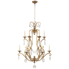 Orvieto Large Chandelier in Gilded Iron with Seeded Glass