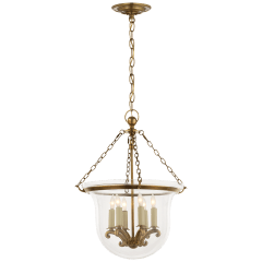 Country Medium Bell Jar Lantern in Antique-Burnished Brass