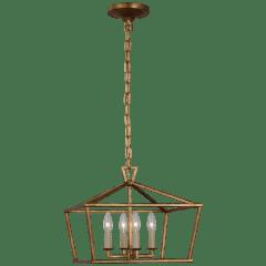 Darlana Small Wide Semi-Flush Mount Lantern in Gilded Iron
