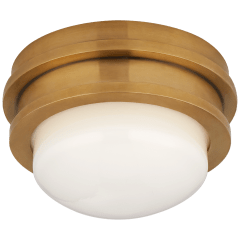 "Launceton 5"" Solitaire Flush Mount in Antique-Burnished Brass with White Glass"