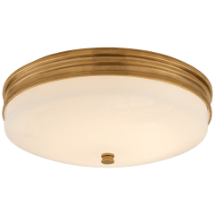 Launceton Small Flush Mount in Antique-Burnished Brass with White Glass