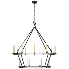 Darlana Extra Large Two-Tier Chandelier in Aged Iron
