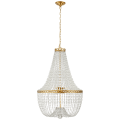 Linfort Basket Form Chandelier in Antique-Burnished Brass with Clear Glass Trim