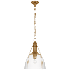"Prestwick 18"" Pendant in Antique-Burnished Brass with Clear Glass"