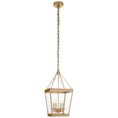 Launceton Small Square Lantern in Antique- Burnished Brass with Clear Glass