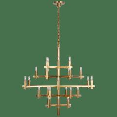 Sonnet Large Chandelier in Antique-Burnished Brass