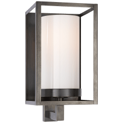 Easterly Sconce in Bronze with White Glass